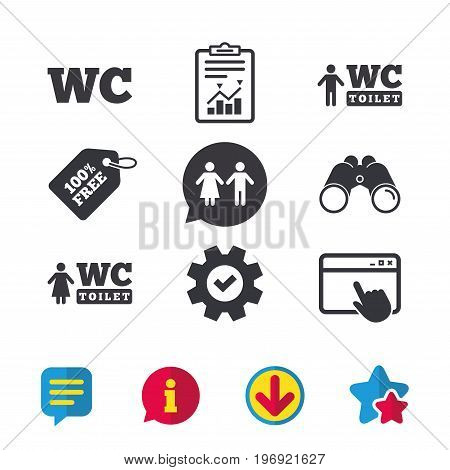 WC Toilet icons. Gents and ladies room signs. Man and woman speech bubble symbol. Browser window, Report and Service signs. Binoculars, Information and Download icons. Stars and Chat. Vector