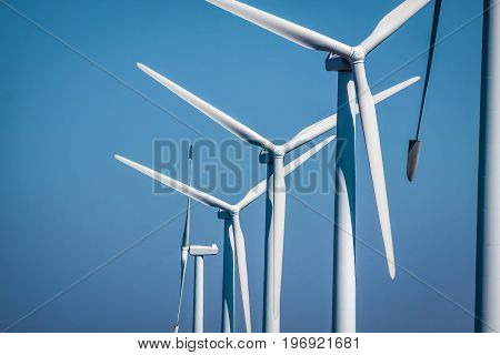 Several wind turbines of a wind farm on Bornholm Denmark