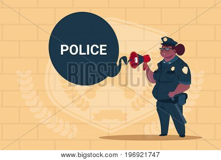 African American Police Woman Planning Action On White Board Wearing Uniform Female Guard On Blue Bricks Background Flat Vector Illustration
