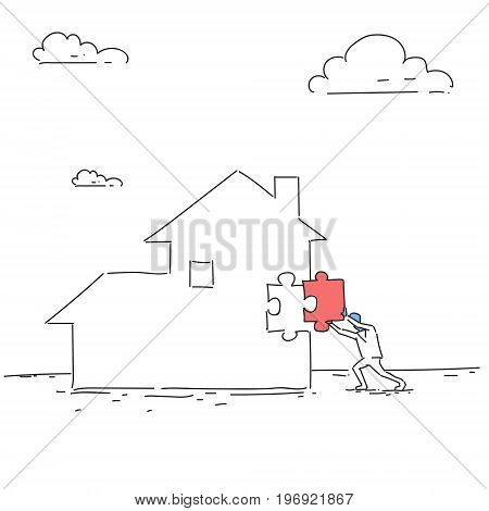 Business Man Build House Paying Debt Sketch Vector Illustration