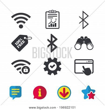 Wifi and Bluetooth icons. Wireless mobile network symbols. Password protected Wi-fi zone. Data transfer sign. Browser window, Report and Service signs. Binoculars, Information and Download icons