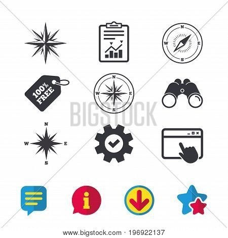 Windrose navigation icons. Compass symbols. Coordinate system sign. Browser window, Report and Service signs. Binoculars, Information and Download icons. Stars and Chat. Vector
