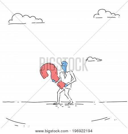 Business Man Carry Question Mark Ponder Problem Concept Vector Illustration