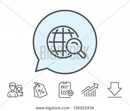 Global Search line icon. World or Globe sign. Website search engine symbol. Report, Sale Coupons and Chart line signs. Download, Group icons. Editable stroke. Vector