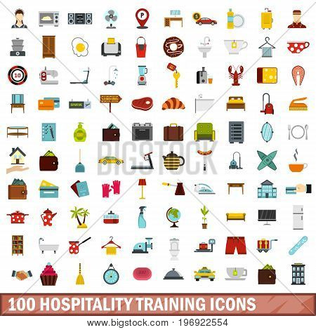 100 hospitality training icons set in flat style for any design vector illustration