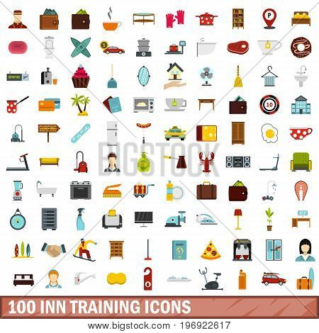 100 inn training icons set in flat style for any design vector illustration