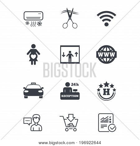Hotel, apartment service icons. Barbershop sign. Pregnant woman, wireless internet and air conditioning symbols. Customer service, Shopping cart and Report line signs. Online shopping and Statistics