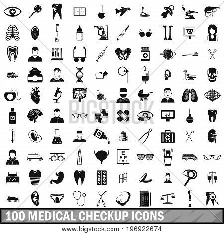 100 medical checkup icons set in simple style for any design vector illustration
