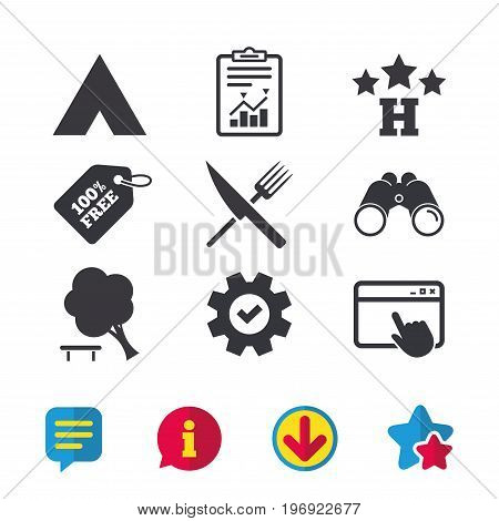 Food, hotel, camping tent and tree icons. Knife and fork. Break down tree. Road signs. Browser window, Report and Service signs. Binoculars, Information and Download icons. Stars and Chat. Vector