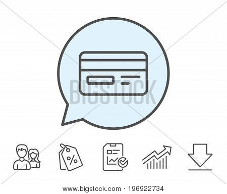 Credit card line icon. Bank payment method sign. Online Shopping symbol. Report, Sale Coupons and Chart line signs. Download, Group icons. Editable stroke. Vector