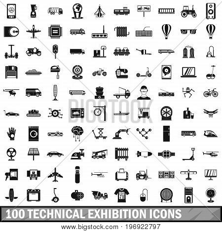 100 technical exhibition icons set in simple style for any design vector illustration