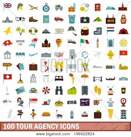 100 tour agency icons set in flat style for any design vector illustration