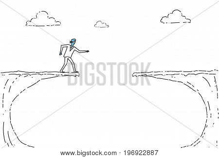 Business Man Blind Walking To Cliff Gap Crisis Risk Concept Vector Illustration