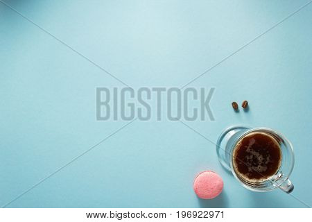 cup of coffee at blue colorful background