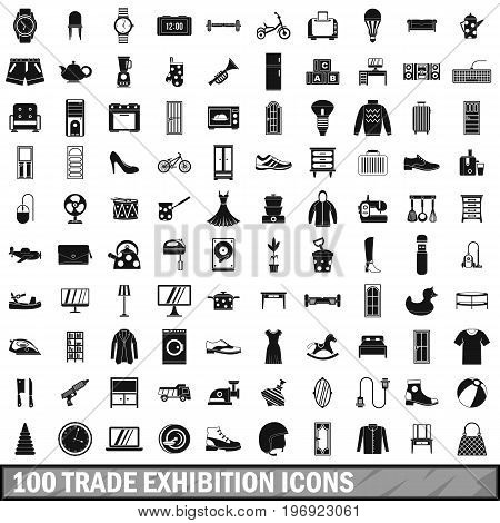 100 trade exhibition icons set in simple style for any design vector illustration