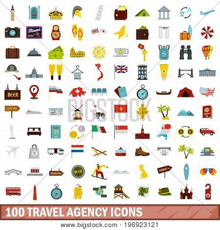 100 travel agency icons set in flat style for any design vector illustration