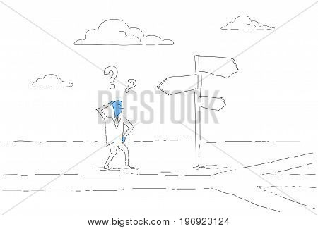 Business Man On Crossroad Look At Sign Board Choosing Direction Concept Vector Illustration