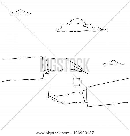 Business Man Hands Holding House Rear Estate Investment Vector Illustration
