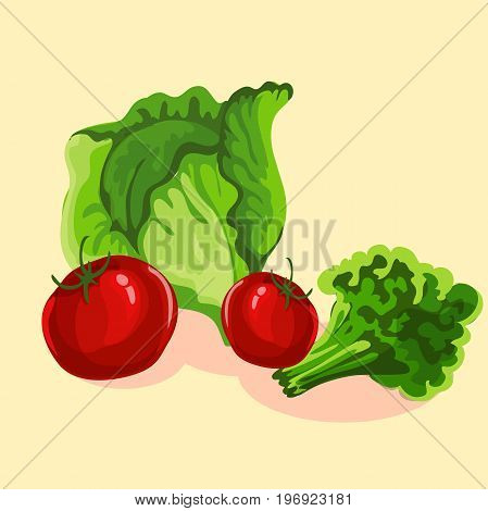 Still life of vegetables in cartoon style. Vector element for your design