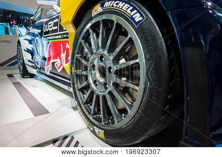 BERLIN - MAY 02 2015: Showroom. Fragment of a sports car Volkswagen Polo R WRC. Produced since 2015.