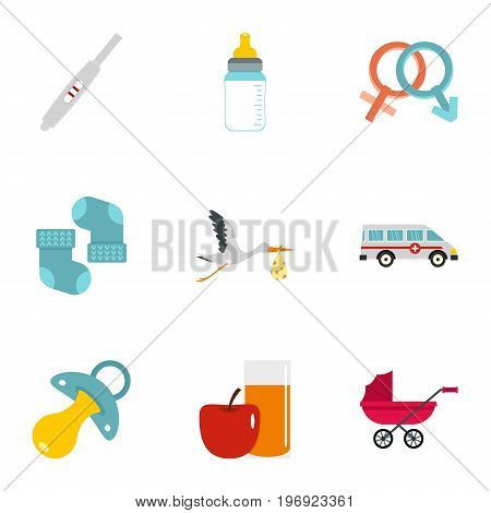 Baby ambulance icons set. Flat set of 9 baby ambulance vector icons for web isolated on white background