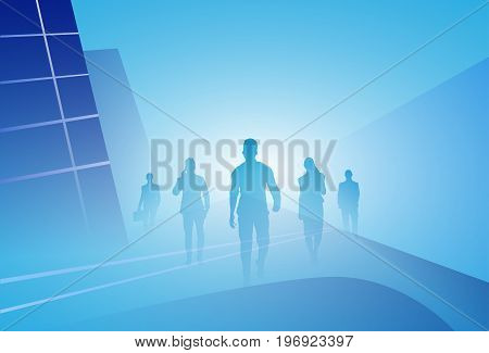 Group Of Business People Silhouette Businesspeople Walk Step Forward Over Abstract Background Vector Illustration