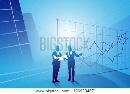 Two Silhouette Businessman Talking Discussing Document Report Over Finance Graph, Business Man Meeting Concept Vector Illustration
