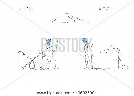Businessman Holding Key From Database, Corporate Data Protection Concept Vector Illustration