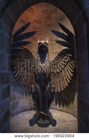 LEAVESDEN UK - JUNE 19TH 2017: The studio set of the entrance to Dumbledores Office on display at the Making of Harry Potter Studio Tour at the Warner Bros. Studios in Leavesden UK on 19th June 2017.