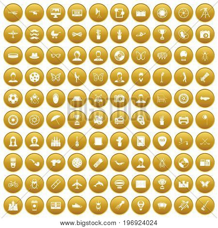 100 photo icons set in gold circle isolated on white vector illustration