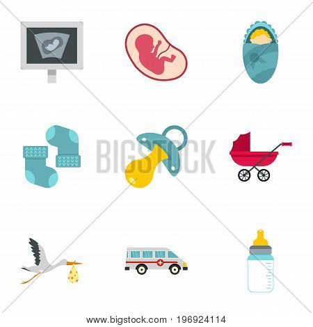 Pregnancy icons set. Flat set of 9 pregnancy vector icons for web isolated on white background