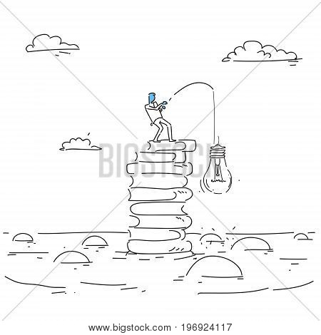 Abstract Business Man Fishing Hold Light Buble New Creative Idea Concept Vector Illustration