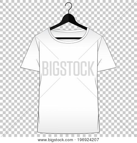Tshirt mockup. Man clothes front view. Simple isolated vector. Tshirt template for fashion design presentation or advertising.