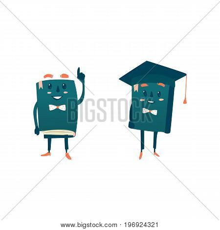 Vector cartoon humanized book with arms and face emotions set. Flat isolated illustration on a white background. Back to school concept