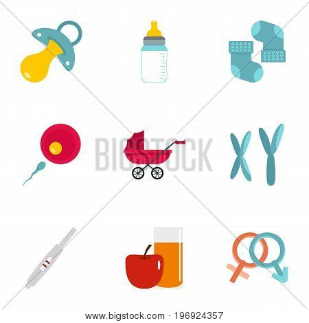 Pregnancy symbols icons set. Flat set of 9 pregnancy symbols vector icons for web isolated on white background
