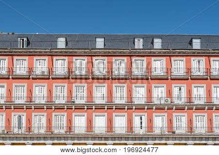 Madrid Spain - July 2 2017: Plaza Mayor in Madrid. It was built during Philip III's reign and is a central plaza in the city of Madrid. Sunny summer day.