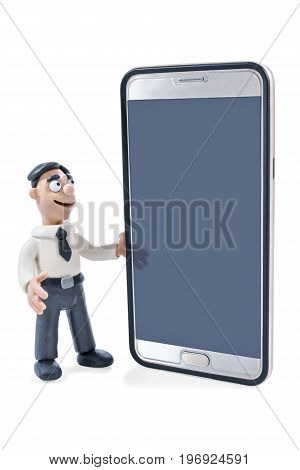 Plasticine businessman in shirt and tie with huge phone in hand isolated on white background with smartphone