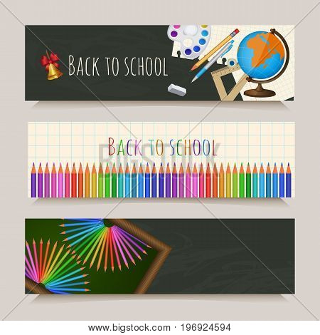 Set of three back to school banners with student items on notebook page and blackboard background, cartoon vector illustration. Set of horizontal back to school banners with student items