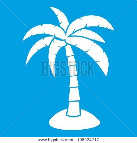 Palm icon white isolated on blue background vector illustration