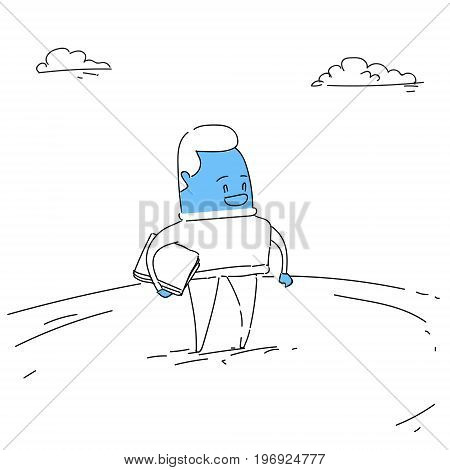 Business Man Hold Contract Sign Document Successful Deal Concept Vector Illustration