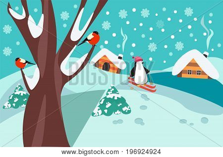 christmas pattern happy holidays winter landscape with firs tree and cute skiing penguin. Merry Christmas collection background.