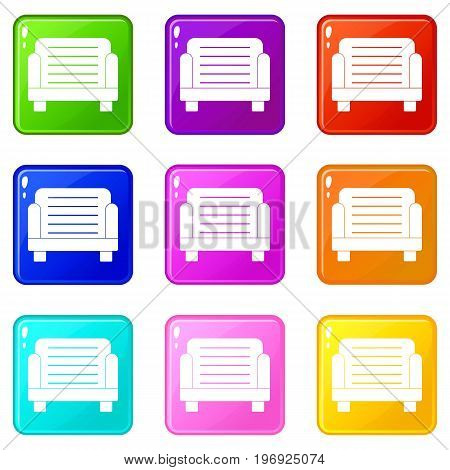 Armchair icons of 9 color set isolated vector illustration