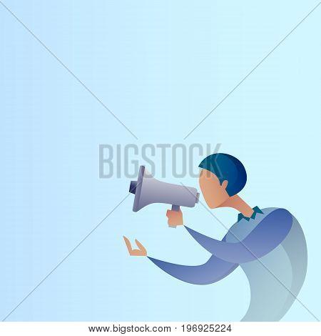 Abstract Business Man Hold Megaphone Loudspeaker Digital Marketing Concept Vector Illustration