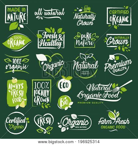 Set of labels and badges for organic food and drink, restaurant, food store, natural products, farm fresh food,  e-commerce, healthy product promotion.