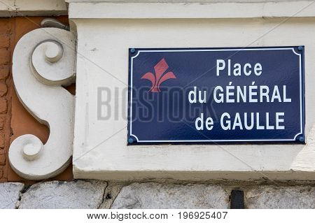 Street sign for Place du General de Gaulle in the historic city of Lille in France.