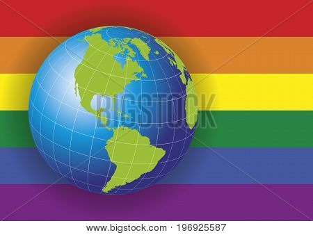 North America map. Earth globe over a gay rainbow flag background. Europe Greenland North Pole South America. Earth globe. Elements of this image furnished by NASA