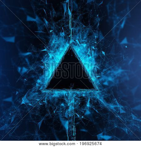 Rendering Energy Triangle Hologram on black background. Energy stream Hologram