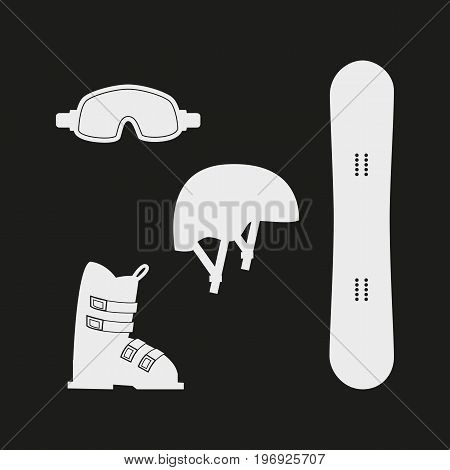 Winter white sports icons on black background. Set of winter sports equipment. Vector illustration.