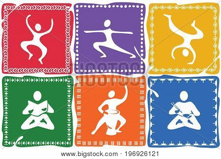 Six colored icons with human figures in different poses / Set of icons on the theme of yoga, gymnastics and a healthy lifestyle