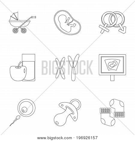 Baby clinic icons set. Outline set of 9 baby clinic vector icons for web isolated on white background